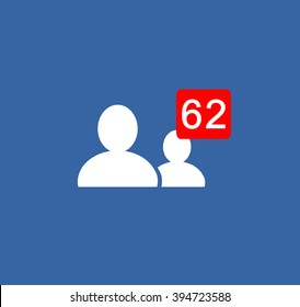 White followers,find join friends icon people  counter notification Vector Logo, JPG, JPEG, EPS. Button.Flat Social Media Sign