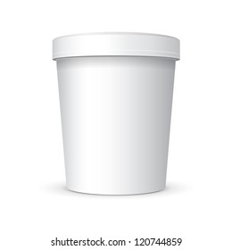 White Food Plastic Tub Bucket Container For Dessert, Yogurt, Ice Cream, Sour Sream Or Snack. Ready For Your Design. Product Packing Vector EPS10