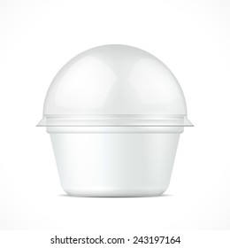 White Food Plastic Tub Bucket Container For Dessert, Yogurt, Ice Cream, Sour Cream Or Snack.  Illustration Isolated On White Background. Mock Up Template Ready For Your Design. Vector EPS10