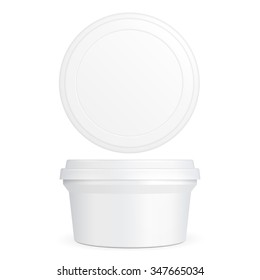 White Food Plastic Tub Bucket Container For Dessert, Yogurt, Ice Cream, Sour Cream Or Snack. Illustration Isolated On White Background. Mock Up Template Ready For Your Design. Product Packing Vector