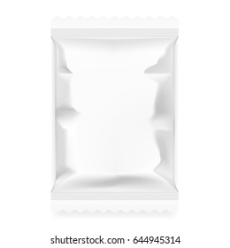 White Food Snack Paper Pillow Bag. EPS10 Vector