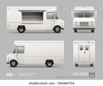 White Food Truck Hi-detailed vector template for Mock Up Brand Identity. Realistic Delivery Service Vehicle isolated on grey background for Advertising design