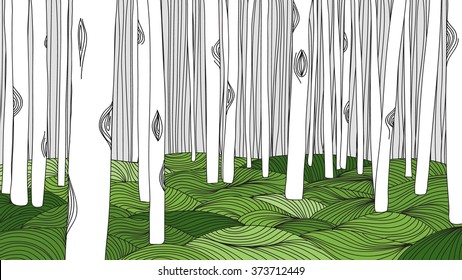 White forest and green meadow, line art ink drawing