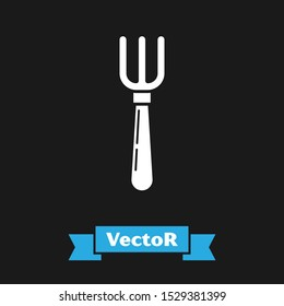 White Fork icon isolated on black background. Cutlery symbol.  Vector Illustration