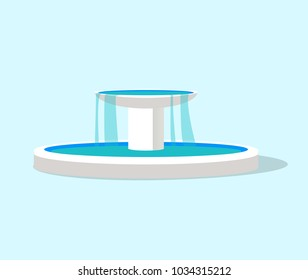 White fountain layout, color vector illustration isolated on bright background, oval pool and bowl on cylindrical column, water flowing, round shadow