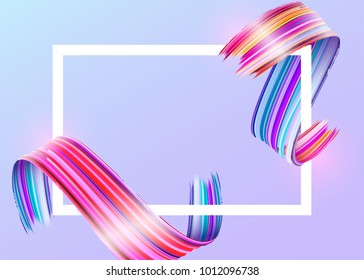White Frame with Abstract Vector Paint Brush Stroke. Colorful Curl of Liquid Paint. Digital 3D Ribbon with Brush Texture. Abstract Ink Background. Creative Spiral Wave with Pink, Blue, Red Colors.