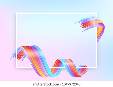 White Frame with Abstract Vector Paint Brush Stroke. Colorful Curl of Liquid Paint. Digital 3D Ribbon with Brush Texture. Abstract Ink Background. Creative Spiral Wave with Purple, Blue, Red Colors.