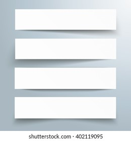 White frame banners with shadows on the gray background. Eps 10 vector file.
