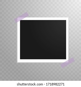 A white frame with a black photo on a gray checkered background glued with pink tape in two corners. Vector illustration. Stock Photo.