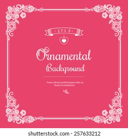 White Frame with Hand Drawn Flower Vignettes on Pink Background. Vector Illustration.