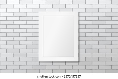White frame on a white brick wall. Vector mock up