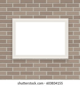 White Frame on Brick Wall Vector Illustration Background EPS10