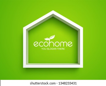 White frame in shape of house on green background. Eco home real estate design template. Easy to change global color
