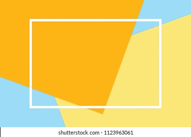 white frame stroke line on orange colorful soft paper pastel background, minimal flat lay style for fashionable cosmetics pastel color top view background, geometric flat lay style overlays (vector)