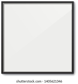 White frame vector template. White elegant frame with black borders and dropping shadow, isolated on background. Blank frame mockup.