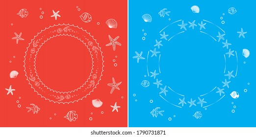 white frames with fish and seashells - red and blue vector abstract backgrounds