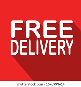 White free delivery   on red backgrounds.