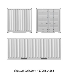 White freight container. Large container for a ship isolated on a white background. Front and side view. Vector.