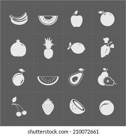 White Fruit Icon Set on Grey Background
