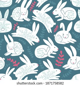 White funny rabbits seamless pattern on dark blue. Lovely cute animals. Winter season. Pink leaves decor. Simple childish hares with floral elements. Running, sleeping, itching rabbits.