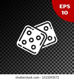 White Game dice icon isolated on transparent dark background. Casino gambling.  Vector Illustration