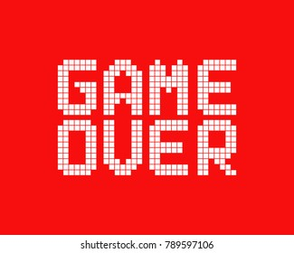 white game over logo in pixel art style. concept of gameover in old classic videogame or level final. 8 bit flat cartoon trend modern logotype graphic pixelart design isolated on red background