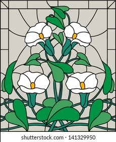 White garden flowers, composition in stained glass, vector