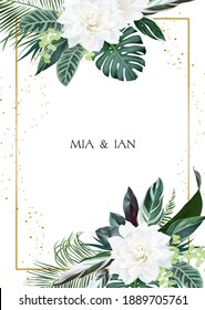 White gardenia, hibiscus, green monstera, palm tropical leaves template vertical card. Emerald exotic greenery, gold glitter pattern frame. Island wedding invitation.Elements are isolated and editable