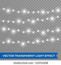 White garland, Christmas lights. Vector isolated realistic glowing garland threads of lamp lights. Christmas, New Year party decoration design elements