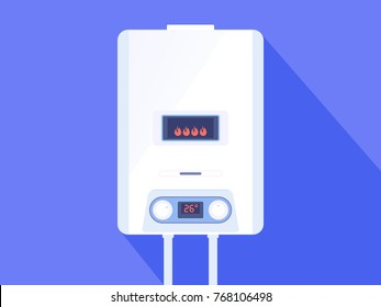 White gas boiler water heater. Home heated gas boiler on blue background. Vector illustration