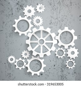 White gears with centre on the concrete background. Eps 10 vector file.