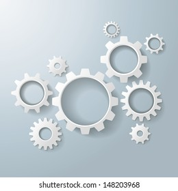 White gears on the grey background. Eps 10 vector file.