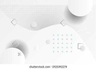 White geometric background. Composition of fluid geometric shapes.