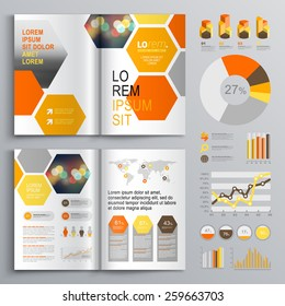 White geometric brochure template design with orange and yellow honeycombs. Cover layout and infographics