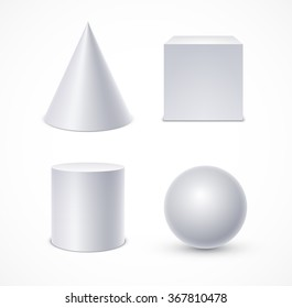 White geometric shapes: cone, cube, cylinder, sphere. Realistic vector illustration