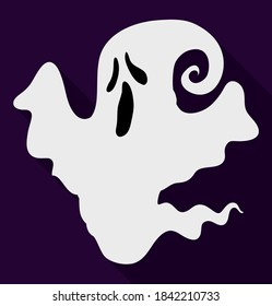 White ghost with howling gesture in flat style, and long shadow, isolated over dark background.