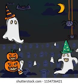 White Ghost, moon, spider, pumpkin, candy, graveyard