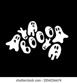 """White ghosts around """"Booo"""" word on black background; spooky but cute; hand drawn vector illustration."""