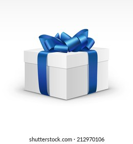 White Gift Box with Blue Ribbon Isolated