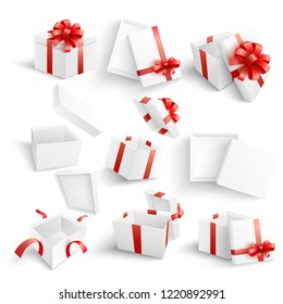 White gift boxes vector illustration set - open and close blank present packages and with red ribbon and bow in realistic 3d style design for congratulation and surprise design.