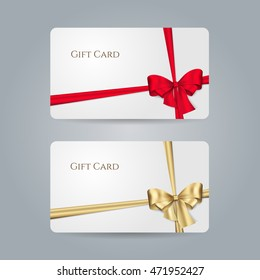 White gift card with red, golden bow and ribbons. Vector template for design invitation and credit or discount card. Isolated from a background
