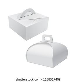 White Gift Packaging Box with Handle mockup for Cake. Set of Paperboard Packaging Container Template for Wedding Party Decoration for your design
