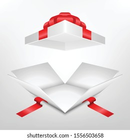 White giftbox have Red Ribbon and open inside on white background.Realistic 3d.