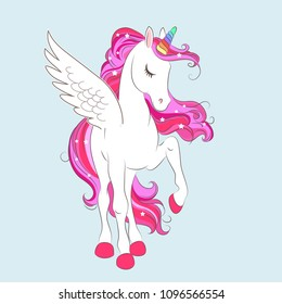 White girl Unicorn with Pink hair and stars. Vector illustration for children design. Beautiful fantasy cartoon animal