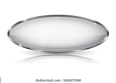 White glass 3d button with metal frame. Oval shape. With reflection on white background. Vector illustration