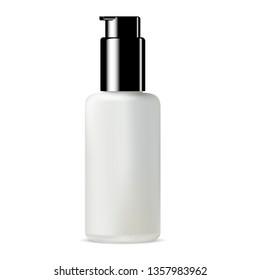 White Glass Bottle. Foundation Cream Cosmetic Jar. Matt Container for Concealer. Premium Facial Skin Care Essence. Medical Liquid Silk Gel. Glossy Black Plastic Pump Lid. Bb Glitter Mockup.
