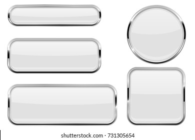 White glass buttons with chrome frame. Vector illustration isolated on white background
