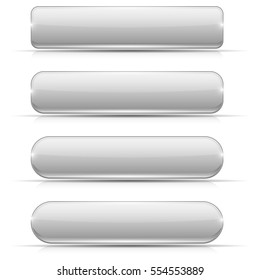 White glass buttons. Rectangle and oval web icons. Vector 3d illustration isolated on white background.