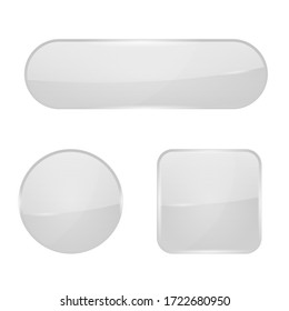 White glass buttons. Web 3d icons. Vector illustration isolated on white background