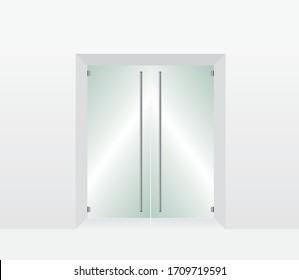 White Glass transparent door illustration